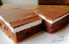 Much for a little: Wonderful cream cake with chocolate icing- Viel für wenig: Wunderbarer Cremekuchen mit Schokoglasur Much for little: Wonderful cream cake with … - Czech Desserts, Great Desserts, Dessert Recipes, European Dishes, Chocolate Icing, Healthy Diet Recipes, Cream Cake, Confectionery, Baked Goods