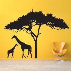 Go on a safari without leaving your home. This safari wall sticker features two giraffes under a tree. Giraffe Bedroom, Safari Bedroom, Safari Nursery, Modern Wall Decals, Vinyl Wall Decals, Wall Stickers, Wallpaper Stickers, Nursery Decals, Nursery Room