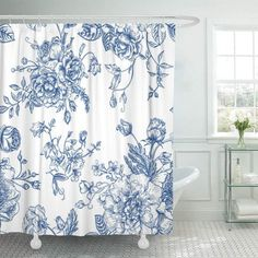 Floral Vintage with Bouquet of Blue Flowers on Peonies Roses Sweet Peas Bell Shower Curtain Bath Curtain inch White Bathroom Decor, Floral Shower Curtains, Blue White Bathrooms, Blue Bathroom Decor, Curtains, Guest Bathrooms, Blue Shower Curtains, Vintage Shower Curtains, Shower Tile Designs