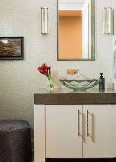 A comfortable family home created with striking transitional style by Elms Interior Design within Boston's luxe Intercontinental Residences Internal Design, Transitional Style, Best Interior, Designer Wallpaper, Home And Family, Vanity, Powder Rooms, Black Dating, Gaming Chair