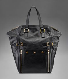 LARGE YSL DOWNTOWN TOTE IN BLACK CLASSIC LEATHER