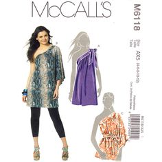 One Shoulder Tunic Pattern McCalls 6118 Off The Shoulder Top and Sash Size 4 to 12 UNCUT