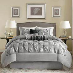 Madison Park Laurel Grey Comforter Set - Queen (Ruched) by Madison Park Bedding