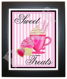 Kitchen Wall Prints Cafe cupcakes and by LittlebeaneBoutique, $12.95