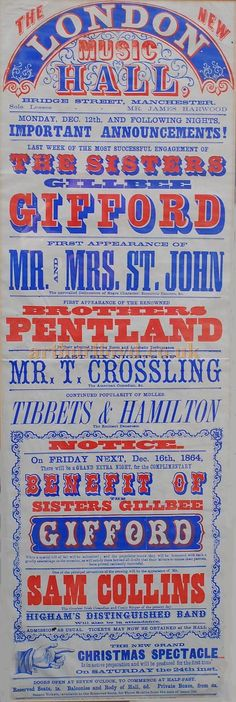 A Music Hall Poster for the London Music Hall, Manchester in 1864. - Poster from a private collection and kindly sent in for inclusion on the site.