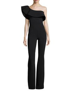 Ravivia One-Shoulder Boot-Cut Jersey Jumpsuit, Black by La Petite Robe di Chiara Boni at Neiman Marcus. Fitted Jumpsuit, Ruffle Jumpsuit, Jumpsuit With Sleeves, Black Jumpsuit, One Shoulder Jumpsuit, I Love Fashion, Street Style, Clothes For Women, Outfits