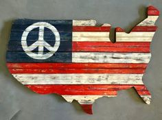 Reclaimed Wood Peace USA Wall Sculpture by RidleyStallingsArt