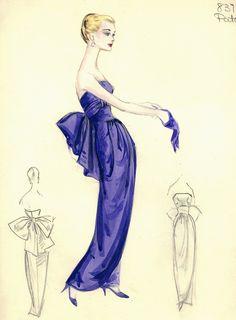 Illustration - Bergdorf Goodman Archives -  Coctail & Evening Dresses, 1950-1969
