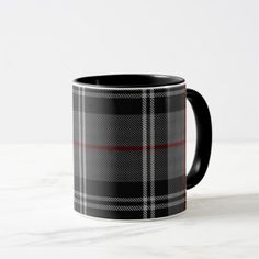 Black Grey White Red Large Tartan Plaid Mug - red gifts color style cyo diy personalize unique