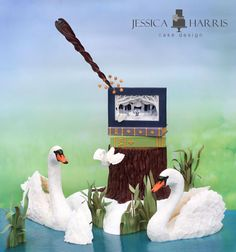 Jessica Harris' 7 swans a swimming cake design. Incredible tutorial for 3D book made of gumpaste