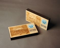 """4"""" x 7"""" oak, laser engraved awards with 5 color process digital printing. Made for Farmingdale State College."""