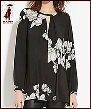latest girls women black flower printing long sleeve blouse designs