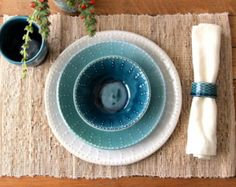 Items similar to Handmade Dinnerware - Ocean Blue Ombré - Dinner, Salad Plate and Bowl - 3 Piece Set - Handcrafted Stoneware - MADE TO ORDER on Etsy Plates And Bowls, Salad Plates, Dots Design, Blue Ombre, Handmade Pottery, Dinner Plates, Shades Of Blue, Dinnerware, Ocean