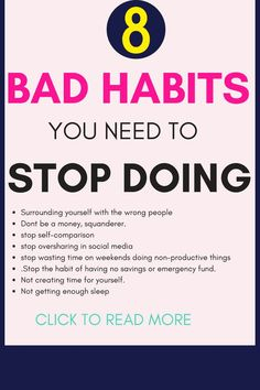 bad habits to break/ list of bad habits/ how to stop bad habits / get rid of bad habits tips/ bad habits to stop/ tips quit bad habits / GoodHabitsList /habits forming /good habits list things to do Habit Quotes, Advice Quotes, Good Habits, Healthy Habits, Habits Of Successful People, Self Improvement Tips, Self Care Routine, Positive Mindset, Self Help