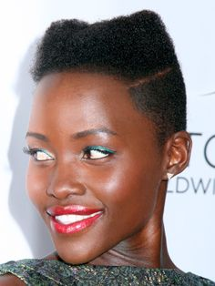 Lupita Nyong'o's cat ears hairstyle from the side: http://beautyeditor.ca/2014/04/16/lupita-nyongo-cat-ears-hairstyle/