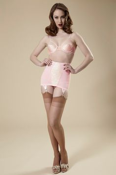Pin-Up Girdle Garter Skirt Cotton Candy Pink Lacy Vintage Style Open Bottom V-Day