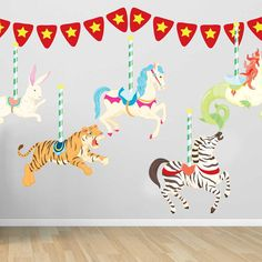 Hey, I found this really awesome Etsy listing at https://www.etsy.com/listing/198337975/carousel-wall-decal-kit-merry-go-round