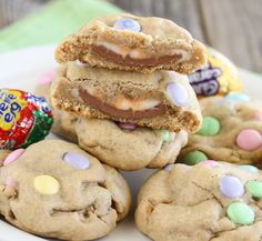 Cadbury Eggs Stuffed Chocolate Chip Cookies. Such an easy way to jazz up cookies for easter.