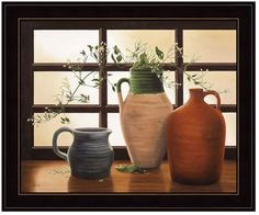 Add the final touch to your traditional wall collage with this Olive Jar with Flowering Vine framed wall art. <ul> <li>Espresso brown frame</li> <li>Artist: Cecile Baird PRODUCT DETAILS</li> <li>19''H x 23''W x 1.5''D</li> <li>Pine wood, glass, paper</li> <li>Horizontal display</li> <li>Attached sawtooth hook</li> <li>Wipe clean</li> <li>Manufacturer&#