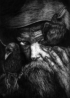 Belíssimo... Odin, the All-Fatherr, by Marcela Badolatto.