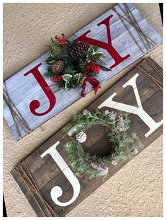 Christmas Wood Crafts, Christmas Signs Wood, Noel Christmas, Winter Christmas, Holiday Crafts, Christmas Ideas, Diy Christmas Wreaths, Diy Wood Crafts, Christmas Crafts To Sell Bazaars