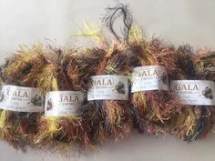 GALA Eyelash Yarn 5 Pkges Fall Colors Yellow Orange Brown Gray 250 Gr