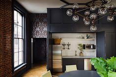 dining-rooms-kitchens-black-gray-light-wood-brick-walls-chandeliers-countertops-dining