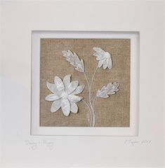 Large Antique Linen Stumpwork Daisy: 'Happy' - Hand Embroidered Art by The Art of the Needle