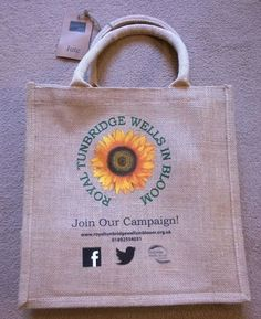 Royal Tunbridge Wells in Bloom Jute Shopping Bag. Jute Shopping Bags, Reusable Shopping Bags, Reusable Bags, Candle Power, Tunbridge Wells, St Pierre And Miquelon, Duffel Bag, Bloom, Jute Bags