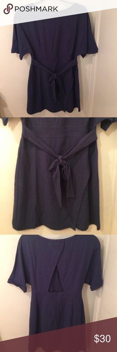 ASTR | Dark Blue Cutout Dress **BRAND NEW ** Really Cute dress with layover skirt and fierce cutout back design and stylish belt. Gives nice fit, is midi or mini depending on your height. Only slightly tried on as size was too small for me. Still has tag , completely New condition. ASTR Dresses Mini