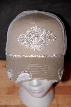 06c10ba1bbf Items similar to Women s Bling Trucker Hat. Baseball Hat. Rhinestone  appliqué. hat.Khaki. Tan. snap back. on Etsy