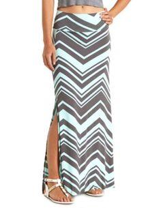 Chevron Print Double Slit Maxi Skirt