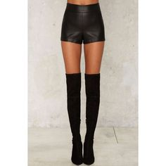 Nasty Gal Love the Nightlife Vegan Leather Shorts (2.030 CZK) ❤ liked on Polyvore featuring shorts, vegan leather shorts, nasty gal, zipper shorts and faux leather shorts