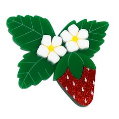 Peppy Chapette Strawberry Blossom brooch by Louisa Camille