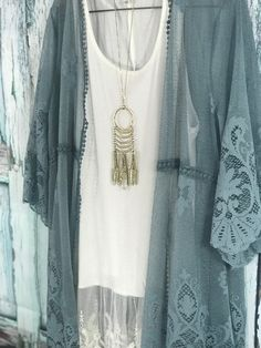 Slate Blue Kimono Perfect for spring and country concerts! Glampingboutique.net