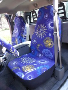 1 Set of Blue/White Tie Dye Print Seat Covers and steering wheel ...