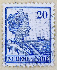 Old dutch stamp 20c Nederlands-Indië Queen Wilhelmina