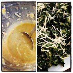 Delicious Yet Nutritious - World's Easiest Kale Caesar Salad. Shake for less than two minutes in a jar for creamy homemade caesar dressing. YUM!
