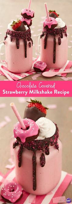 Chocolate Covered Strawberry Milkshake Recipe - Enjoy the goodness of chocolate covered strawberries in a glass! Dark Cocoa Candy Melts blend perfectly with strawberry ice cream. Top it all off with s (Chocolate Milkshake) Milk Shakes, Yummy Treats, Delicious Desserts, Sweet Treats, Dessert Recipes, Yummy Food, Healthy Food, Tasty, Frosting Recipes