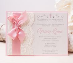 GRACY: Pink Lace Baptism Invitation ~ Christening Invitation ~ Religious Invitation ~ Baby Shower ~ Baby Girl by peachykeenevents on Etsy https://www.etsy.com/listing/109525728/gracy-pink-lace-baptism-invitation