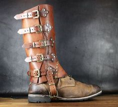 STEAMPUNK GAITERS SPATS leg armor leather by SteampunkMasks