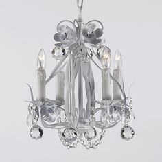 G7-B6/WHITE/326/4 Gallery Country French WROUGHT IRON FLORAL CHANDELIER WITH CRYSTAL BALLS!