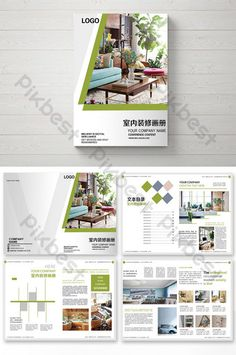Simple green fashion home decoration pictures Brochure Cover Design, Corporate Brochure Design, Creative Brochure, Book Design Templates, Indesign Templates, Architecture Portfolio Layout, Brochure Format, Decoration Pictures, Home Decoration