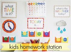 DIY Elementary School Calendar (or homework station) with lovely printables and instructions. Diy Calendar, School Calendar, Printable Calendar Template, Free Printables, Calendar Board, Teaching Calendar, Calendar Time, Toddler Activities, Learning Activities