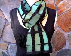 Shades of turquoise and aqua line design Nuno felt by AcornRidge