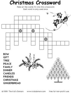 christmas crossword puzzles for adults printable