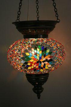 EXTRA LARGE TURKISH MOROCCAN MOSAIC HANGING LAMP SHADE PENDANT LANTERN XMAS GIFT