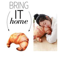 """Bring It Home: Croissant Pillow"" by polyvore-editorial ❤ liked on Polyvore featuring interior, interiors, interior design, home, home decor, interior decorating and bringithome"