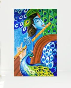 Your place to buy and sell all things handmade - - Cute Canvas Paintings, Indian Art Paintings, Amazing Paintings, Canvas Art, Madhubani Art, Madhubani Painting, Kalamkari Painting, Arte Krishna, Lord Krishna