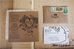 rustic tree wedding invite